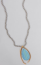 Pink Panache Silver Beaded with Turquoise Wooden Teardrop Necklace