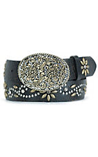 Nocona Ladies Dark Brown Belt with Brass Flower & Silver Studs