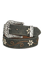 Nocona Women's Grey with Floral Embroidery Belt