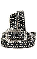 Nocona Ladies Black Mock Croc Belt With Crystals & Studs