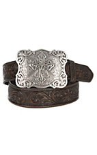 Nocona Women's Brown Tooled Floral and Cross Fashion Western Belt