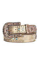 Nocona Women's Gold Embossed with Rhinestones and Conchos Buckle Belt