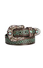 Nocona Women's Brown with Turquoise Embossment 3 Piece Bronze Buckle Set Belt