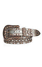 Nocona Women's Antiqued Silver Faux Crocodile with Rhinestones and Studs Buckle Belt