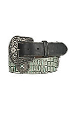 Nocona Women's Turquoise Faux Crocodile with Silver Conchos Buckle Belt