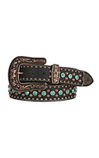 Nocona Women's Black Embossed Turquoise and Copper Studs Buckle Belt