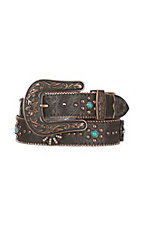 Nocona Women's Chocolate Embossed with Antique Copper and Turquoise Concho Buckle Set Belt