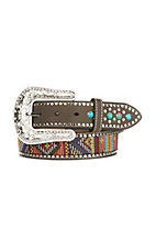 Blazin Roxx Women's Brown with Multi Color Stitching Buckle Belt