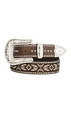 Blazin Roxx Women's Brown with Tan Stitching Buckle Belt