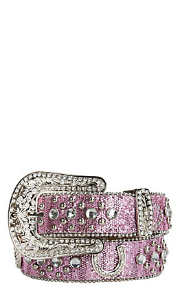 Nocona Girls' Pink Glitter with Horseshoe Concho & Rhinestones Belt