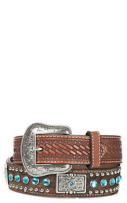 Nocona Children's Cow hair with Blue Rhinestones and Silver Studs Leather Belt