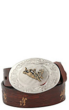 Nocona Brown Rodeo Belt with Bullrider Buckle