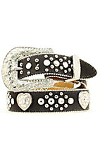 Nocona Children's Black Heart Concho and Rhinestone Calf Belt