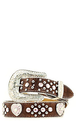 Nocona Children's Brown Heart Concho and Rhinestone Crocodile Print  Belt