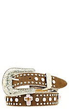 Nocona Children's Medium Brown Leather Pink Cross Crystals