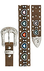 Nocona Girl's Brown with Multi Jeweled Heart Belt