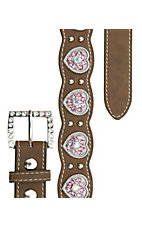 Nocona Girl's Brown w/ Pink Crystal Heart Conchos Scalloped Western Belt