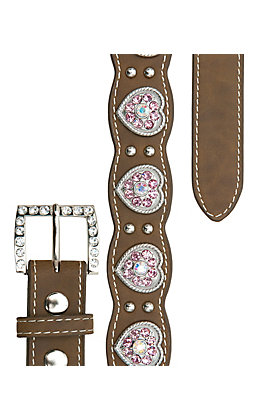 Nocona Girl's Brown with Pink Crystal Heart Conchos Scalloped Western Belt