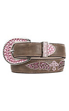 Nocona Children's Brown With Pink Sparkly Cross Design Faux Leather Belt