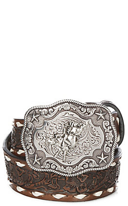 Embossed Children's Brown Floral Embossed with  White Lace Western Belt