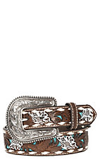 Nocona Kids Brown Embossed with Turquoise Inlay Belt