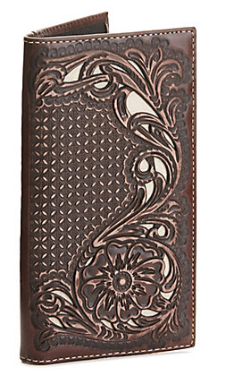 Nocona Distressed Brown with Floral Overlay Rodeo Wallet / Checkbook Cover