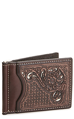 Nocona Distressed Brown with Floral Overlay Slim Fold Money Clip Bi-Fold Wallet