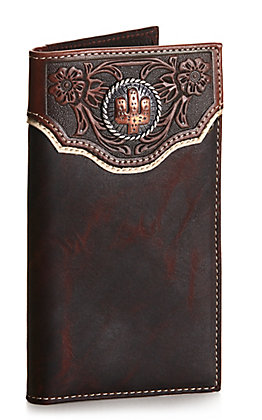 Nocona Dark Brown with Tooling and Cactus Concho Rodeo Wallet / Checkbook Cover