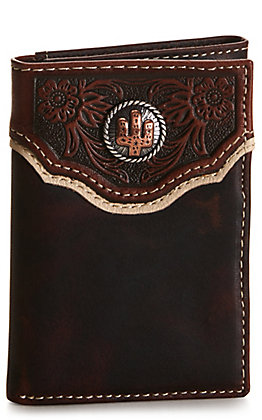 Nocona Dark Brown with Tooling and Cactus Concho Tri-Fold Wallet