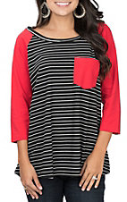 Umgee Women's Black and Red Striped 3/4 Sleeve Casual Knit Tee