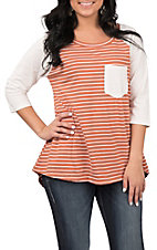 Umgee Women's Burnt Orange and White Striped Fashion Top
