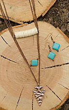 West & Co. Copper with Arrow and Turquoise Details Jewelry Set