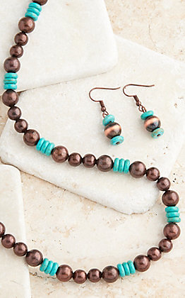 West & Co. Turquoise and Copper Beaded Jewelry Set