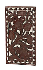 Nocona Brown & Ivory Tooled Overlay Rodeo Wallet / Checkbook Cover