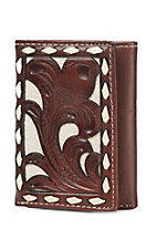Nocona Tifold Brown & Ivory Tooled Overlay Wallet