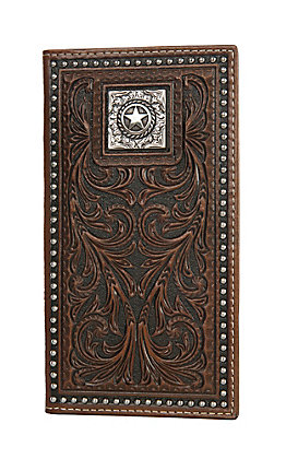Nocona Tooled Leather with Studs and Conch Rodeo Wallet
