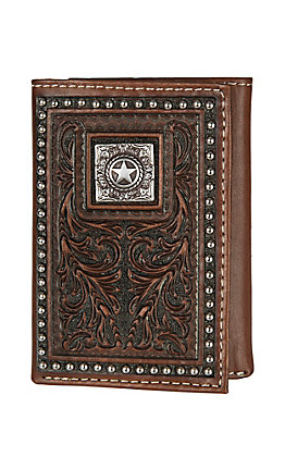 Nocona Brown Floral Tooled with Concho and Studded Edge Tri-fold Wallet