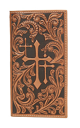 Nocona Brown with Scroll and Three Crosses Rodeo Wallet