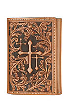 Nocona Cognac 3 Cross Embossed with Dark Brown Inlay Tri-Fold Wallet
