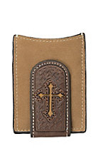 Nocona Roughout Brown Leather with Basket Weave Tooling and Cross Inlay Money Clip and Wallet