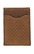 Nocona Brown Embossed Slim Fold Money Clip Wallet
