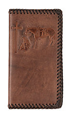 Nocona Embossed Praying Cowboy w/ Leather Braided Stitching Rodeo Wallet/ Checkbook Cover