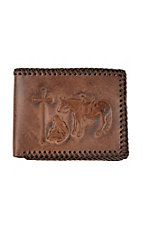 Nocona Embossed Praying Cowboy w/ Leather Braided Stitching BiFold Wallet
