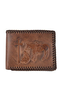 Nocona Embossed Praying Cowboy with Leather Braided Stitching BiFold Wallet