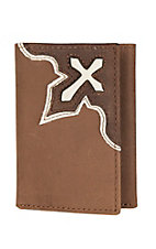 Nocona Tan with Bold Cream Cross Tri-fold Wallet