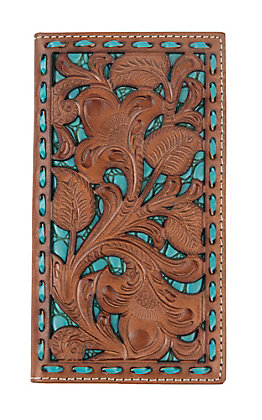 Nocona Tan Filigree with Turquoise Underlay Rodeo Wallet