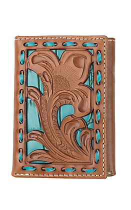 Nocona Tan Filigree with Turquoise Underlay Trifold Wallet