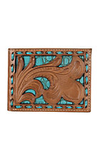Nocona Tan Filigree with Turquoise Underlay Bifold Wallet