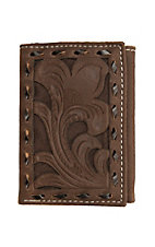 Nocona Chocolate Filigree with Chocolate Underlay Trifold Wallet
