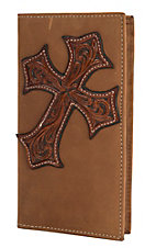 Nocona Aged Bark with Tan Tooled Cross Overlay Rodeo Wallet/Checkbook Cover N54212217